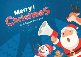 Santa Claus holds a megaphone and announces Merry Christmas and happy new year. vector