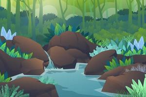 Scene green forest and stream through the rock vector