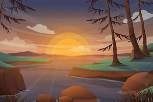 Scenery in nature lake and forest with sunset cartoon vector. vector