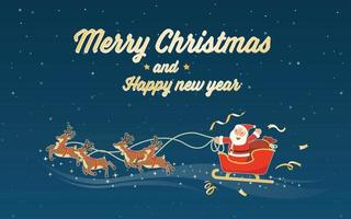 merry christmas and happy new year with santa claus sleigh vector