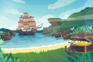 Scene Galleon in island with treasure chest vector