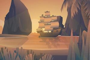 Scene Galleon in bay of island forest vector