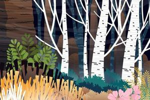 Scene forest of trees and colorful low hedges vector