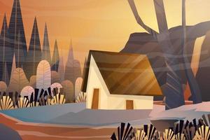 casa en el bosque de la naturaleza con vector de fondo brumoso