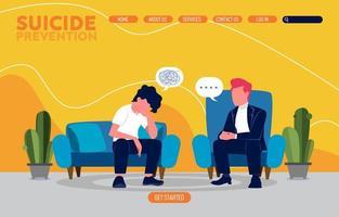 concepto de página de destino de prevención del suicidio vector
