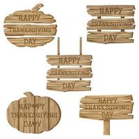 Text Happy Thanksgiving Day  with variety of wooden signs vector