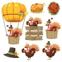 Happy Thanksgiving Day icon with Turkey, label, basket, pumpkin and hat. vector
