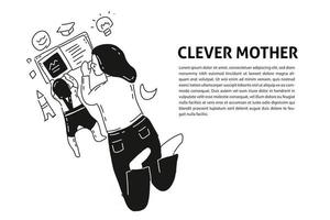 Mother and son study hand drawn illustration vector