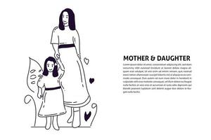 Fashion Mother and Daughter handdrawn illustration vector