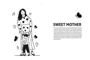 happy mother and son hand drawn illustration vector