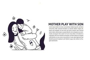 cute mother and son hand drawn illustration vector