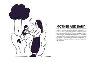 Mother Play with baby hand drawn illustration vector