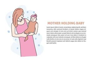 Mother show the cute baby hand drawn illustration vector