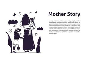 Mother and two kids hand drawn illustration vector