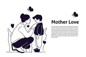 Mother love her son hand drawn illustration vector