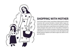 shopping style mom and kids hand drawn illustration vector