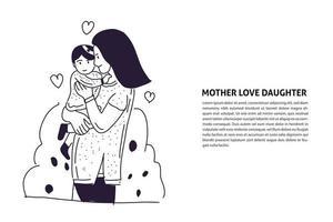 Mother Hug cute baby hand drawn illustration vector