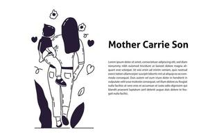 Mother walking with cute baby hand drawn illustration vector