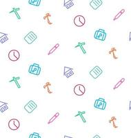 Vector seamless pattern from set of life icons, work, hospital,