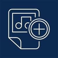 Media file blue monochrome linear icon vector