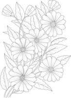 Adult Flower Coloring page for drawing. Floral print flower branch Pro Vector