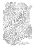 Adult Coloring page Vector flower for coloring. Floral print flower branch