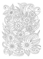 Adult Flower Coloring page. Hand draw Floral print flower vector