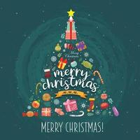 Merry Christmas with colorful gift boxes adorned on the Christmas tree. vector