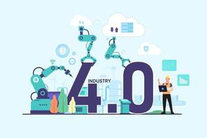 working people with clever device for workflow of industry 4.0 vector