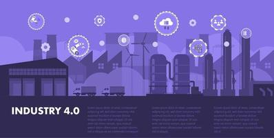 Smart Factory industrial revolutions steps Industry 4.0 concept. vector