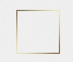 marco dorado brillante brillante con sombras aisladas sobre fondo transparente. borde de rectángulo realista vintage de lujo dorado. ilustración - vector