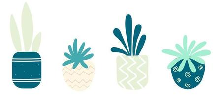 Set with succulents in pots. Homemade potted plants . Vector illustration