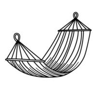 Tourist hammock for recreation. Portable hammock isolated on a white background. Vector illustration in Doodle style.Hammock for outdoor recreation.