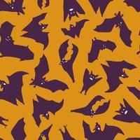 Seamless pattern of bats.Silhouette of purple bats on an orange background. Design for Halloween. Vector flat illustration