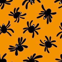Seamless spider silhouette pattern on orange background. Halloween pattern. Design for Halloween. Vector illustration.