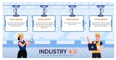 Technology system control infographic of industry 4.0 vector