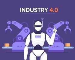 Robot and robot arms in smart factory industry 4.0 vector
