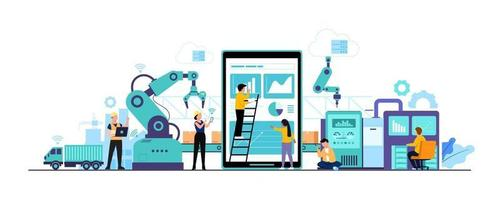 Worker human working with technology smart industry 4.0 vector