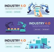Set banner of smart factory industry 4.0 technology vector