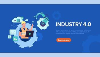 Banner of working people with clever device for industry 4.0 vector
