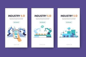 Banner of working people with clever device of industry 4.0 vector