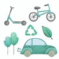 Bicycle and icon Hand drawing with watercolor vector