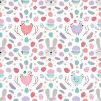 patrón de Pascua sin fisuras con conejo. patrón con conejito de pascua, huevos, pastel. diseño para textiles, empaques, envoltorios, web, impresión. vector ilustración plana