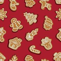 Seamless vector pattern of traditional gingerbread cookies of various shapes for Christmas celebration on a red background