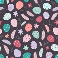 Easter eggs seamless pattern. Decorated Easter eggs on a white background. Design for textiles, packaging, wrappers, greeting cards, paper, printing. Vector illustration