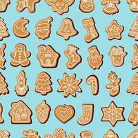 Seamless vector pattern of traditional gingerbread cookies of various shapes for Christmas celebration amidst snowflakes against blue background