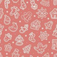 Seamless vector pattern of traditional gingerbread cookies of various shapes for Christmas celebration amidst snowflakes against pink background