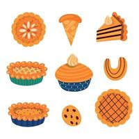 Collection of vector illustrations of various types of traditional autumnal sweet pastry with leaves and mushrooms elements for Thanksgiving celebration isolated on white background