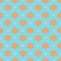 Seamless vector pattern of traditional gingerbread cookies and small white snowflakes on blue background