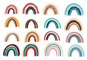 Boho Rainbow Collection. Wall decor in a Bohemian style.Cute rainbows in pastel colors. Hand-drawn vector illustration